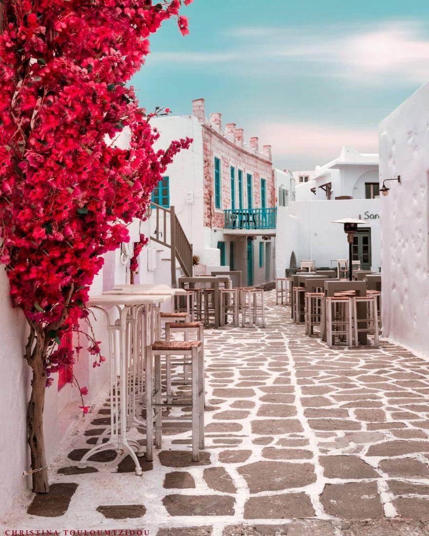 祥和安静的街头小景 唯美的希腊小巷