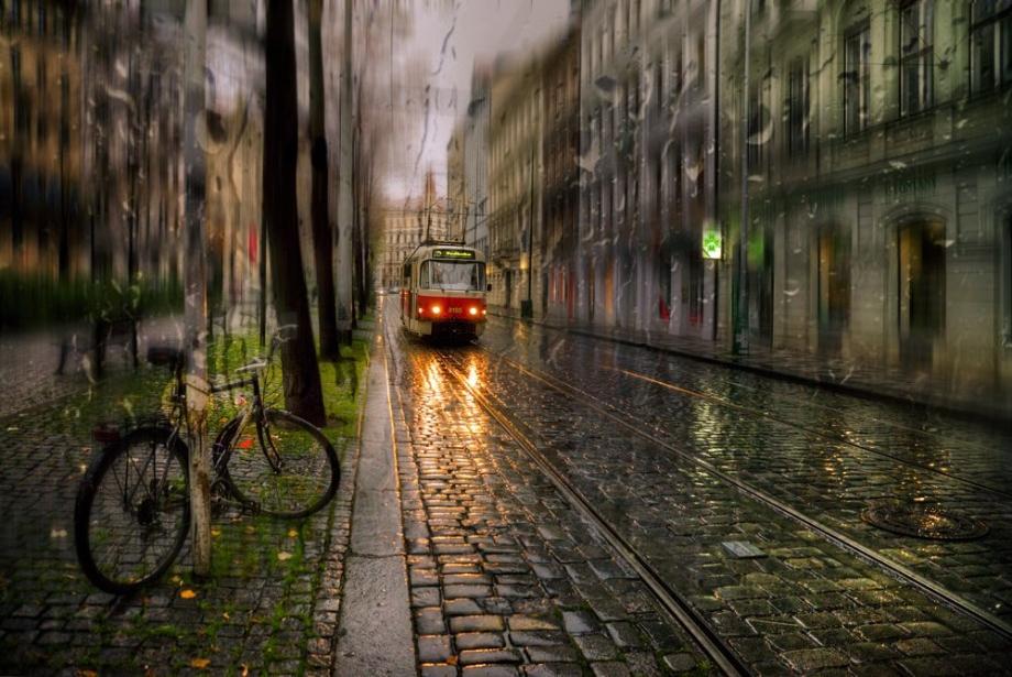 雨中的都市情調 朦朧動感的跳躍色彩