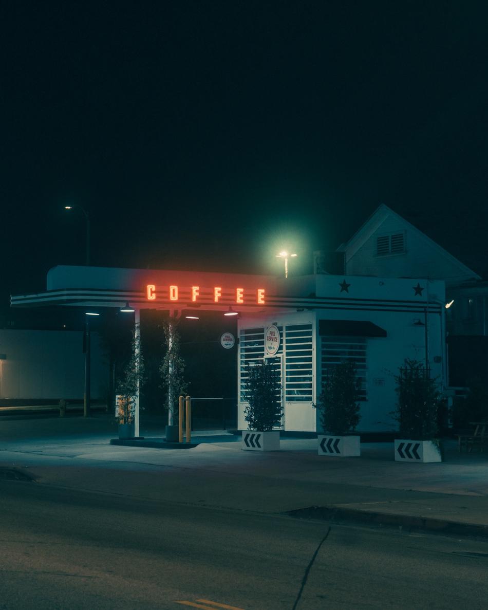 蓝调的复古街头 梦幻的加州之夜