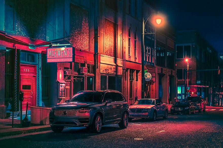 霓虹點綴的美國街頭 懷舊豪放的美式風情